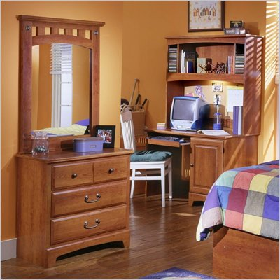 Standard City Park Kids Single Dresser and Mirror in Cherry Finish
