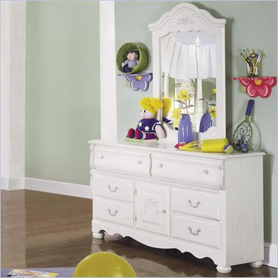 Standard Diana White Wash Double Dresser and Mirror Set
