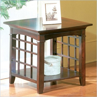 Standard Glasgow End Table with Shelf in Chocolate Cherry Finish