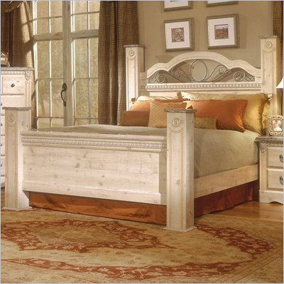 Standard Seville Poster Bed in Old Fashioned Wood and Simulated Jura Granite Finish