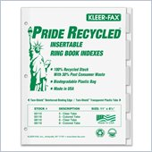 Kleer-Fax Recycled Insertable Ring Book Index