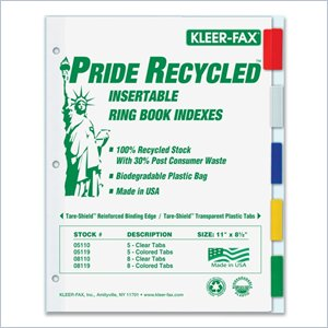 Kleer-Fax Pride Series 5-Tab Insertable Index
