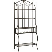Hillsdale Camelot Bakers Rack with Wine Storage in Black