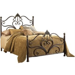 Hillsdale Newton Queen Poster Bed in Antique Brown