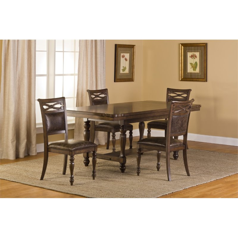 Hillsdale Seaton Springs 5 Piece Dining Set in Weathered Walnut