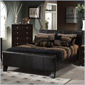 Hillsdale Brookland Dark Brown Leather Upholstered Sleigh Bed