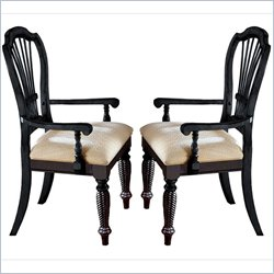 Hillsdale Wilshire Fabric Arm Dining Chair in Black Finish (Set of 2)