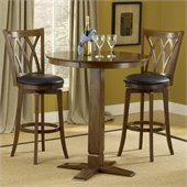 Hillsdale Dynamic Designs 3 PC Pub Table Set with Mansfield Stools in Brown Cherry