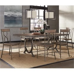 Hillsdale Paddock 7 Piece Dining Set in Brown Gray