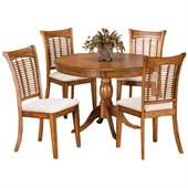 Hillsdale Bayberry 5 Piece Round Dining Table Set in Oak Finish