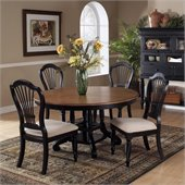 Hillsdale Wilshire 7 Piece Round Dining Table Set in Pine and Rubbed Black Finish
