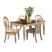 Hillsdale Wilshire 5 Piece Rectangular Dining Table Set in Antique White Finish