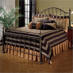 Hillsdale Huntley Metal Panel Bed in Dusty Bronze Finish
