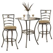 Hillsdale Brookside 3 Piece Bar Height Bistro Table Set with Marin Stools
