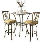Hillsdale Brookside 3 Piece Bar Height Bistro Table Set with Diamond Stools