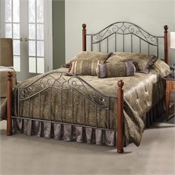 Hillsdale Martino Metal Poster Bed in Smoke Silver Finish
