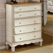 Hillsdale Wilshire 5 Drawer Chest in Antique White