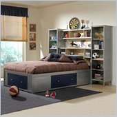 Hillsdale Universal Youth Wood Wall Storage Platform Bed 4 Piece Bedroom Set in Navy and Silver