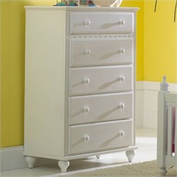 Hillsdale Lauren 5 Drawer Chest in White Finish