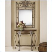 Hillsdale Montello Steel and Cherry Console / Sofa Table and Mirror Set