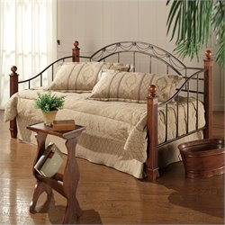 Hillsdale Camelot Wood and Metal Daybed in Cherry Finish with Pop-Up Trundle
