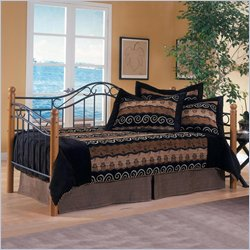 Hillsdale Winsloh Metal and Wood Post Daybed in Medium Oak Finish with Pop-Up Trundle