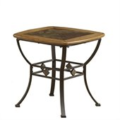 Hillsdale Lakeview Square Slat Top End Table in Brown and Medium Oak