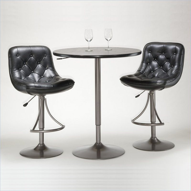 Hillsdale Aspen 3 Piece Pub Table Set with Bar Stools in Oyster Grey