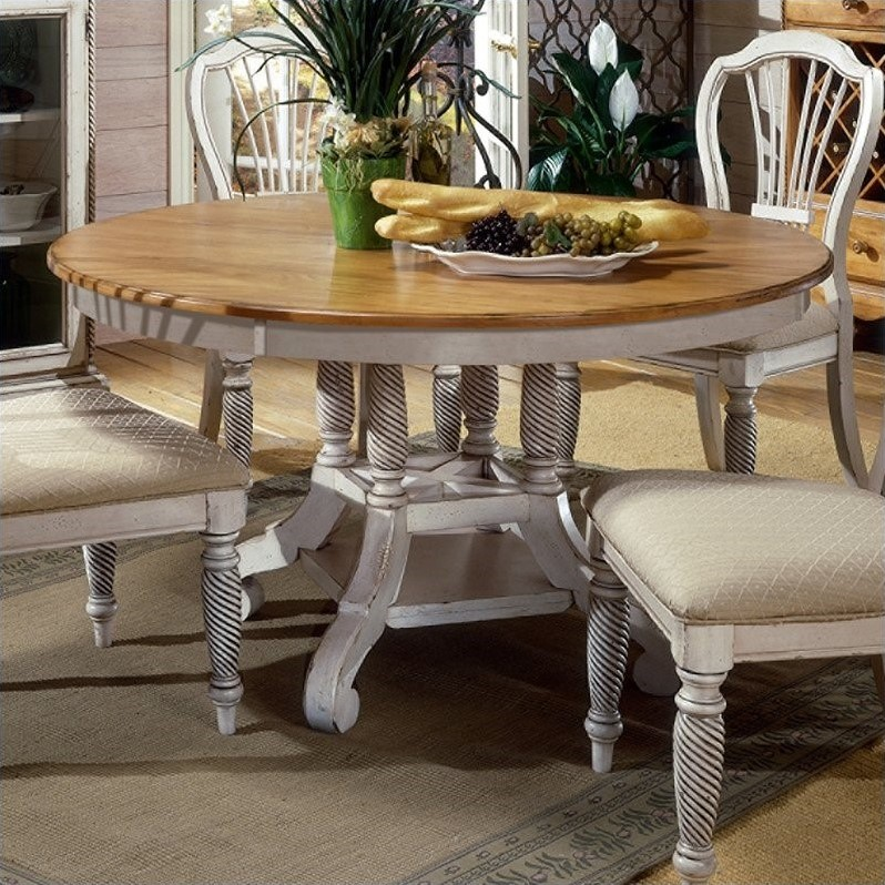 Hillsdale Furniture Wilshire Round Oval Dining Table In Antique White