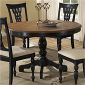 Hillsdale Embassy Round Pedestal Dining Table in Rubbed Black & Cherry