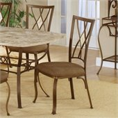 Hillsdale Brookside Diamond Back Fabric Side Chair in Metallic Brown Finish (Set of 2)