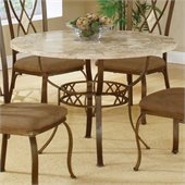 Hillsdale Brookside Stone Top Round Dinette Table in Ivory Finish