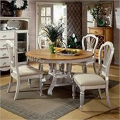 Hillsdale Wilshire Round Dining Table Set in Antique White Finish