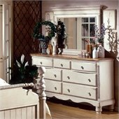 Hillsdale Wilshire Antique White Double Dresser and Mirror Set