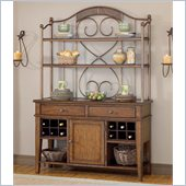 Hillsdale Villagio Server And Hutch in Dark Chestnut