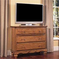 Hillsdale Hamptons 3 Drawer TV Dresser in Weathered Pine