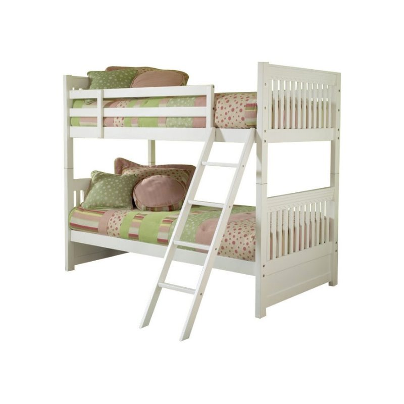 Hillsdale Lauren Twin over Twin Bunk Bed in White-Without Trundle