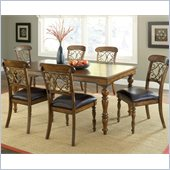 Hillsdale Bergamo 7 Piece Dining Set in Weathered Brown