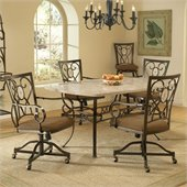 Hillsdale Brookside 5 Piece Dining Set with Oval Caster Chairs