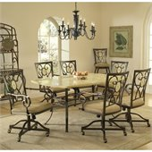 Hillsdale Brookside 7 Piece Dining Set with Oval Caster Chairs