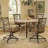 Hillsdale Brookside 5 Piece Round Dining Set w/ Oval Caster Chairs