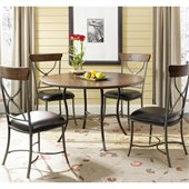 Hillsdale Cameron 5 Piece Round Wood Top Dining Set w/ X Back Chairs