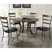 Hillsdale Cameron 5 Pc Round Wood Dining Set with Ladder Back Chairs