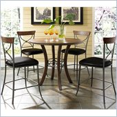 Hillsdale Cameron 5 Pc Counter Height Round Pub Set w/ X back Stools