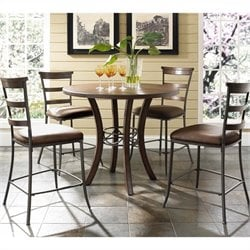 Hillsdale Cameron 5 Pc Counter Height Round Pub Set w/ Ladder Stools