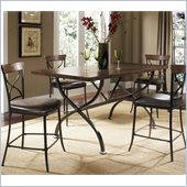 Hillsdale Cameron 5 Pc Counter Height Wood Dining Set w/ X Back Stools