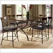 Hillsdale Cameron 7 Pc Counter Height Wood Dining Set w/ X Back Stools