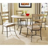 Hillsdale Charleston 5 Pc Round Wood Top Dining Set w/ Ladder Chairs