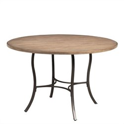 Hillsdale Charleston Round Metal Table with Wood Top in Desert Tan
