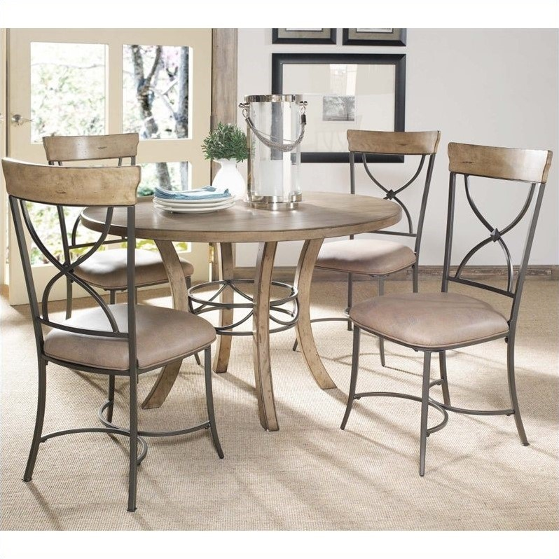 Hillsdale Charleston 5 Piece Round Wood Dining Set w/ X Back Chairs